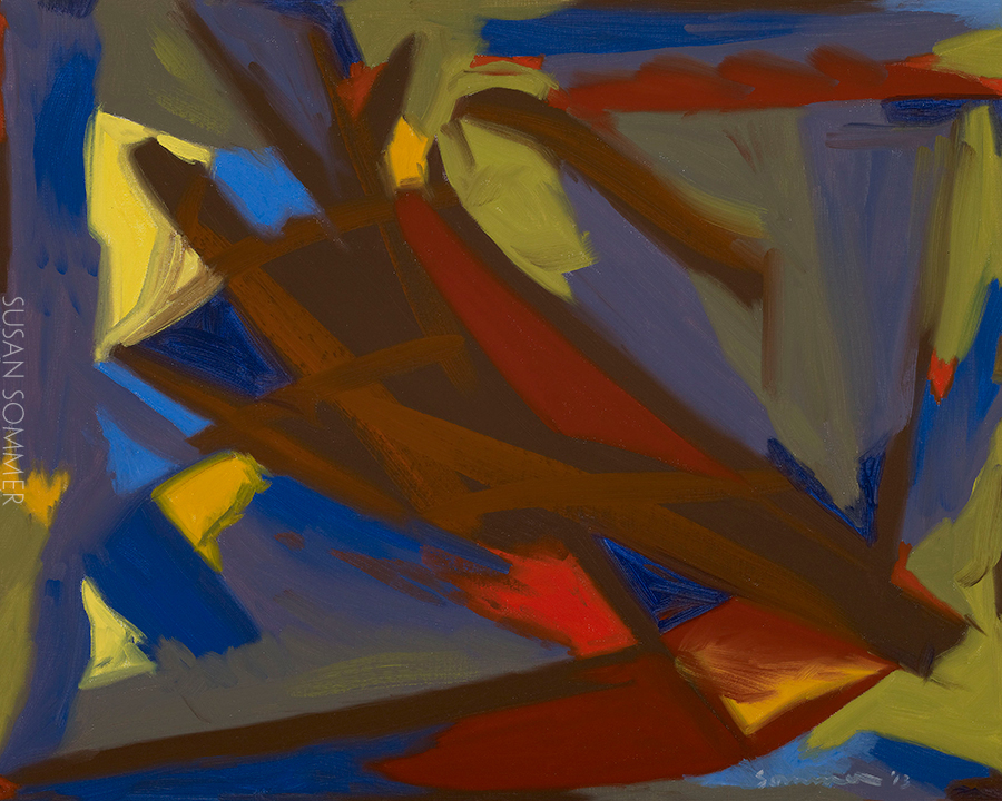 plein air abstract painting oil on board