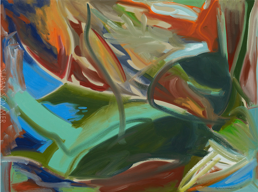 Abstract landscape oil on board