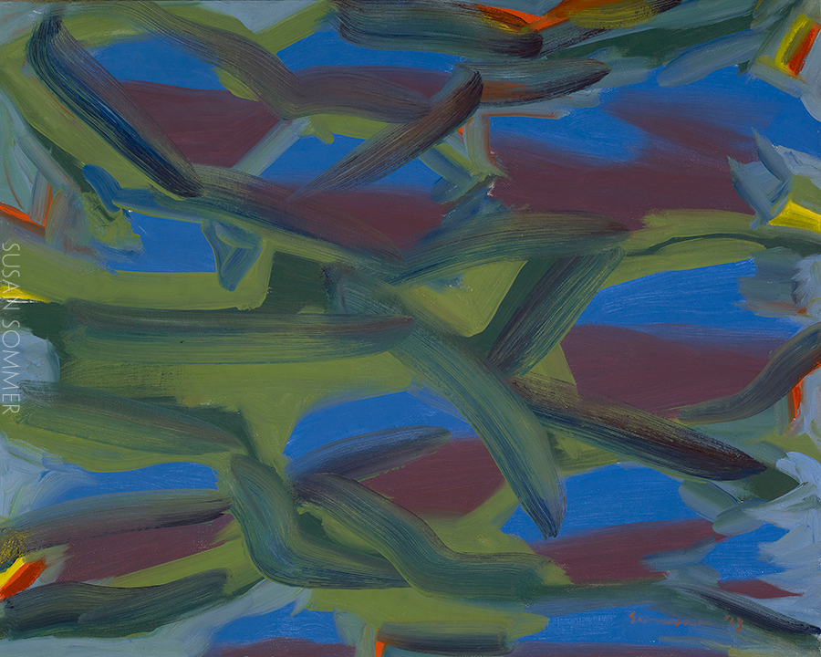 Abstraction and action painting oil on board